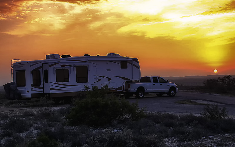 Photo of Newt's Trailer at sunrise