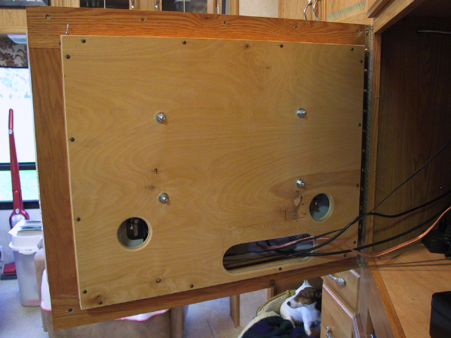 Back Of Tv Frame Showing 3 4 Plywood Back Board Cable